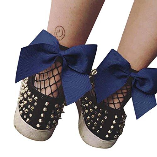 (HARRYSTORE Frauen Rüsche Fishnet Knöchel Hohe Socken Mesh Spitze Bow-Knoten Fisch Netz Kurze Socken (Navy Blau))