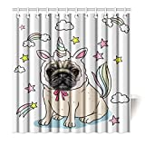 Violetpos Top Qualität Anti-Schimmel Duschvorhang Digitaldruck für Badezimmer Badvorhänge Schön Karikatur Wolken Einhorn Winkel 120 x 180 cm