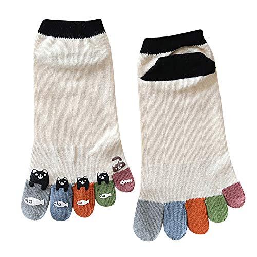 Fenverk Zehe Socken Baumwolle Tief Geschnitten Frau MäDchen Pilates FüNf Finger Reich Liner KnöChel Socke Bunt Lustig