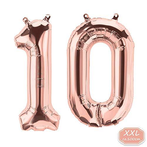 DeaGo XXL Folienballon Zahl [ca.100cm], Silber Luftballon Zahlen für Geburtstag Jubiläum & Party Geschenk partydeko Folienballon Zahlen Luftballons Happy Birthday 0-9 (Rosegold(10)) -