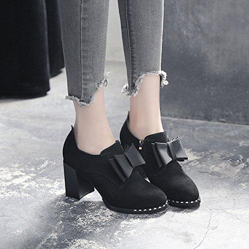 HAIZHEN  Stivaletto Scarpe Donna Scarpe Heels Autunno Inverno Comodità Heel Tondo Tacco Per Casual Ufficio Carriera Per 18-40 anni ( Colore : 1003 , dimensioni : EU37/UK4-4.5/CN37 ) 1002