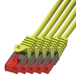 BIGtec - 5 Stück - 1m Gigabit Netzwerkkabel Patchkabel Ethernet LAN DSL Patch Kabel Gelb ( 2x RJ-45 Anschluß, Cat.5E, kompatibel zu Cat.6 Cat.6A CAT.7 ) 1 Meter