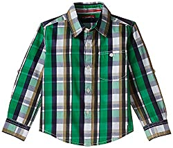 Scullers Kids Boys Shirt (MS0121_Green_blue_white_checkered_3 - 4 years)