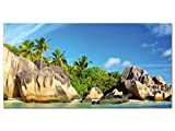 GRAZDesign 100038_001_01_04 Wandbild Strand mit Motiv steinige Küste Einer Insel im Meer | Panoramabild aus Acrylglas für Wohnzimmer | Wandspruch-Bild (100x50cm)