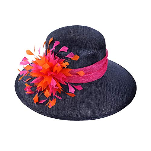 XUEGM-hat Damen Sonnenhut - Floral Flache große breite Krempe Gaze Cap - Folding Sun Sommer Hut für Kirche Hochzeit Party Beach Travel Outgoing - Floral Damen Hut Charme