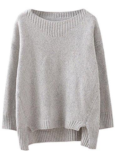 Futurino Damen Winter/Herbst Elegant Langarm Lose Pullover Stricken Sweater Grau (Stricken Tunika Pullover)