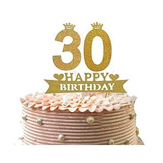 Alemon 30. Happy Birthday Cake Topper, Dirty Thirty Glitzer Gold, Größe 12,2cm Länge