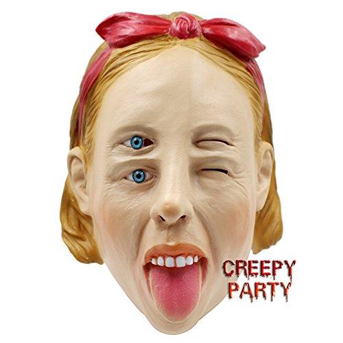 CreepyParty Deluxe Halloween-Kost¨¹m Latex Kopfmaske (Doppel Augen (Kostüm Kopf Doppel)