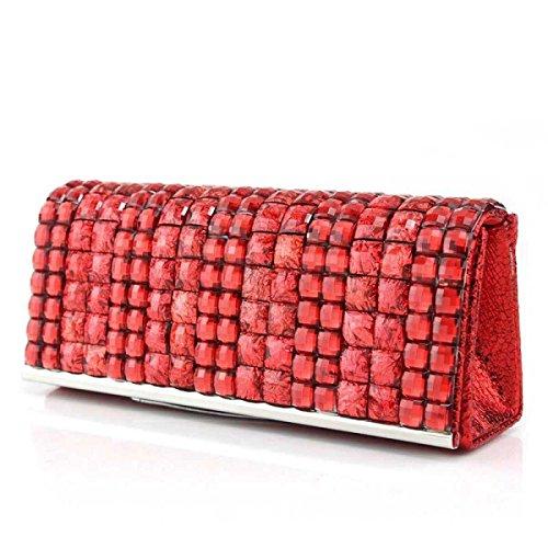 Mode Diamant Damen Bankett Beutel Neue Mädchen Handytasche Red