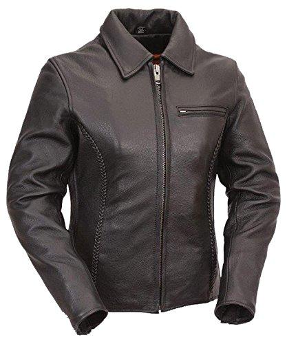 First The Contessa Womens Cruiser Jacket Soft Cowhide Snap-down Shirt Collar - Snapdown Shirt