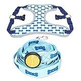 Amody Hund LED Leuchten Beleuchtung Verstellbare Halsband Geschirr Leine für Training zu Fuß Laufen Blau M