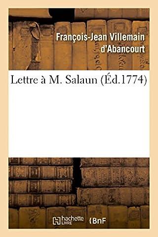 M Villemain - Lettre à M.