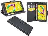 ENERGMiX Buchtasche Hülle kompatibel mit Alcatel A5 LED (5085D) Case Tasche Wallet BookStyle mit Standfunktion in Schwarz