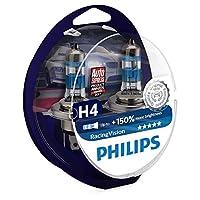 Philips Racing Vision H4 Headlight Bulb, 12 Volt - Set of 2