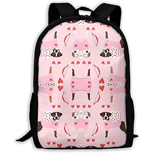 Für Kostüm Erwachsene Cupid - wasserdichte Schulrucksackzufälliger Laptop Rucksack,Lässiger Oxford Backpack,Multifunktionsrucksack,Schultaschen,Boxer Love Bug Cupid Kostüm Hunderasse Stoff Pink Student Backbag,Outdoor Travel