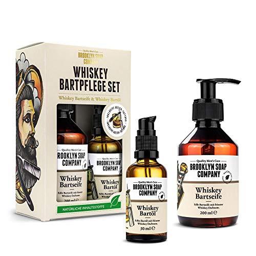 Whiskey Bartpflege Set · Brooklyn Soap Company · Geschenkset für Männer inkl. Bartöl & Bartshampoo mit feinsten Whiskey-Duftnoten