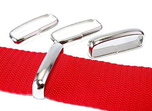 Schlaufe-Gürtelschlaufe flach-breit, Stahl vernickelt. Für Gurt/Band bis 32mm. 10 - Gürtelschlaufe