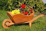 Dekorative massive Schubkarre, behandelt aus Holz, Gartendeko, bepflanzen möglich, Pflanzkorb,...