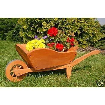 Dekorative massive Schubkarre, behandelt aus Holz, Gartendeko ...