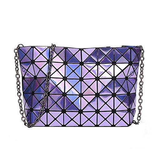 Damen Matte Geometrische Falttasche Diagonal Tasche Mode Umhängetasche Hand Purple