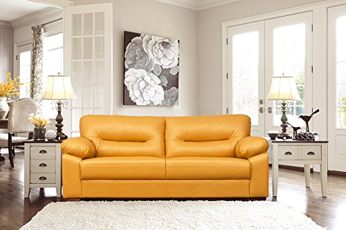Peachtree Galaxy Yellow Leatherette 3 Seater Sofa