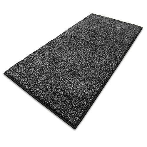Teppich Läufer Luxury   moderne Shaggy Optik mit flauschigem Hochflor   Teppichläufer in vielen Farben für Flur, Schlafzimmer, Wohnzimmer etc.   viele Breiten und Längen (80 x 300cm, anthrazit)