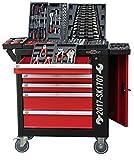SwissKraft Black XXL Edition | Werkzeugwagen * Werkstattwagen * 6 Schubladen / 4 gefüllt mit Werkzeug | Bit Sets, Ratschen, Nüsse und vieles mehr...