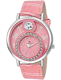 SWISSTONE VOGLR321 Pink Leather Strap Analog Wrist Watch For Women/Girls