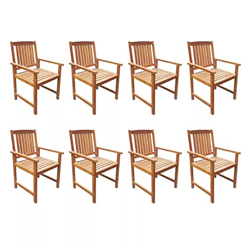 Festnight 9 Pcs Outdoor Table and Chair Set Wooden Garden Dining Set