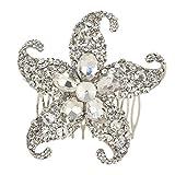 Ever Faith Capelli Starfish Matrimonio cristallo austriaco Pettine d'argento-tono N03546-1 immagine