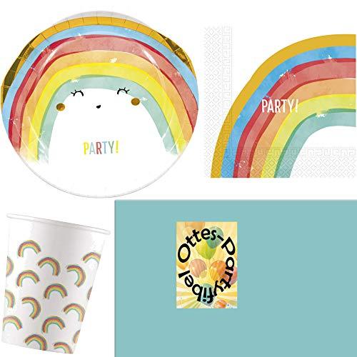 HHO Regenbogen-Party-Set Rainbow-Party Sommerparty 53tlg. für 16 Gäste Teller Papp-Becher Servietten Tischdecke (Und Servietten Teller Rainbow)