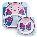 Skip Hop 252220 Melamin Geschirrset, Kinderteller und Breischale für Kinder, Schmetterling Blossom, mehrfarbig