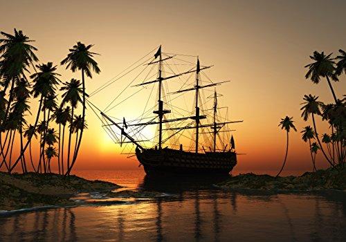 XXL Poster 100 x 70cm (S-845) Großes Segel-Schiff im Wasser umsäumt von Palmen (Lieferung gerollt!) (Horizont, Abbildung)