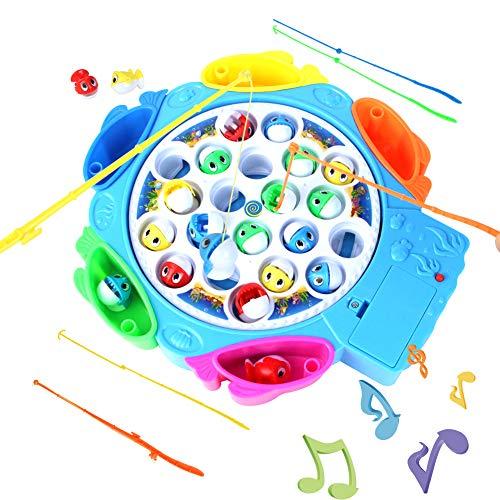 HCHENG TOYS Juegos de Mesa Pesca Juguetes Set Electrónico Musical Giratorios Pesca Y Coloridos de Pescar Regalo para Niños Niñas 3 4 5 Años+