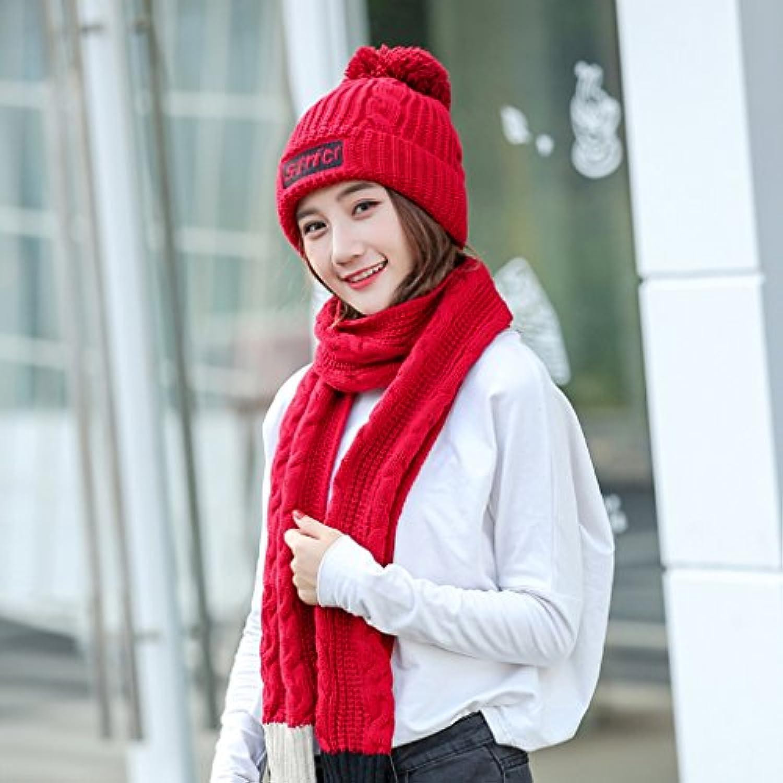 Inverno Mantieni Caldo Due Cappello Sciarpa Vestito A Due Caldo Pezzi  Acrilico Moda Cappello Lavorato A 6f7e7de5a744