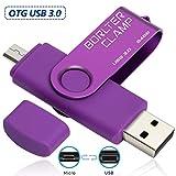 BorlterClamp 64GB Chiavetta USB 3.0, 2 in 1 Pen Drive (Micro USB e USB 3.0) OTG Memoria Flash, USB Flash Drive Girevole per Android Smartphone/Tablet/Computer (Porpora)