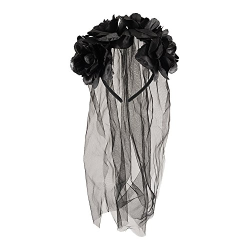 Fancy Halloween Dress Braut Gothic Kostüm - Adult Halloween Zombie Bride Black Veil With Flowers Fancy Dress Accessory