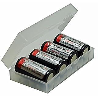 4x CR123 A Li-ion Akku mit 3,7 Volt, 760mAh Kapazität inkl. akkupilot AkkuBox ideal für Überwachungskamera Arlo, LED-Taschenlampen