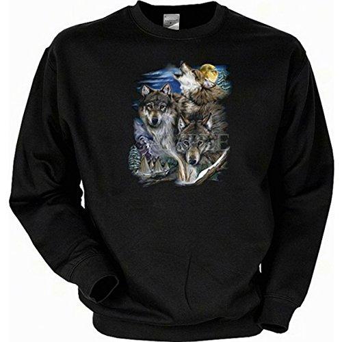 Indianer American Design Wölfe und Indianerdorf Sweatshirt Gr S in schwarz
