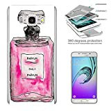 003356 - Pink perfume bottle Design Samsung Galaxy ON5 / J5 Prime Komplett 360° Grad Vollschutz Schild Hülle Front&Back Hülle +Tempered Glass Screen