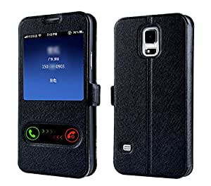 MEILISHO® Samsung Galaxy S5 Housse Étui Coque Pochette en PU Cuir (Noir)