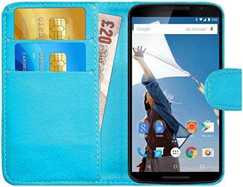 G-Shield Motorola Google Nexus 6 Hülle mit Kartenfach Ledertasche Klapphülle PU Leder Schutzhülle Tasche Flip Case Cover Etui Handyhülle mit Displayschutzfolie und Stylus - Hellblau