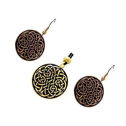 Handcrafted ottone inciso, Celtic Knot, di modo rotondo orecchini Pendant Necklace Set