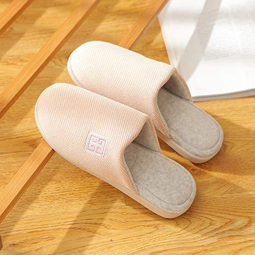Flip Flop-GQ Warme, weiche Hausschuhe aus Kurzstapel-Baumwolle mit seitlich gestickten, leichten Hausschuhen