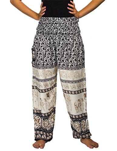 Lofbaz Mujer Smocked Cintura Harén Pantalones Floral Elefante Negro S