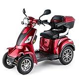 Elektroroller 4-Rad, Elektromobil f�r Senioren, Scooter E-Mobil, Seniorenfahrzeug, 55km 1000W 25 Km/h ... (Rot)