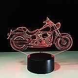 La Luce Creativa Della Motocicletta 3D Della Luce 3D Della Lampada 7 Di Colore Di Chang Accende L'Interruttore Luminoso A Colori Le Luci Di Atmosfera