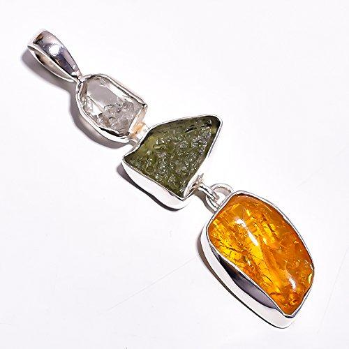 925Sterling Silber Anhänger, natürlichen Raw Bernstein Moldavit Handarbeit Frauen Schmuck rsp296