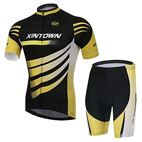 XINTOWN Summer Mens Vélos à vélo Veste à manches courtes Confortable Respirant Quick Dry Shirts Tops 3D Cushion Rembourré Shorts Collants Pantalons Sportswear ( Size : L )