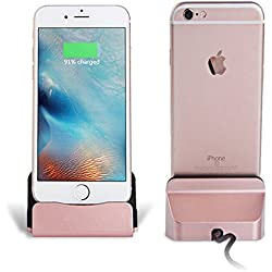 Eximtrade Caricabatterie Docking Station Supporto Telefonico per Apple iPhone 5/5s/6/6s/6 plus/6s Plus/7/7 Plus, iPod (Oro Rosa)